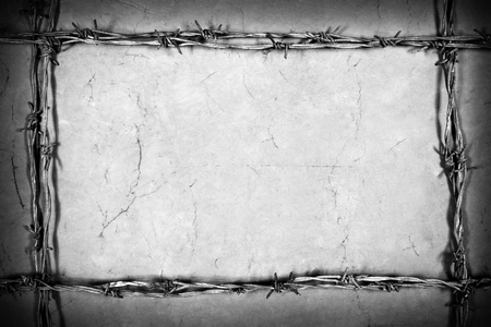 barbed wire frame: frame made of barbed wire on the brown background