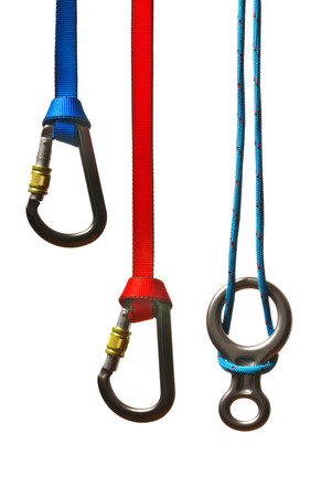 karabiner: snap shackles with ropes on the white background Stock Photo