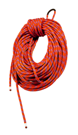 belaying: red climbing rope on the white background