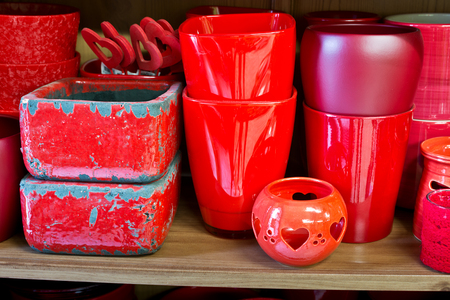 red clay: red clay pots in the florist store