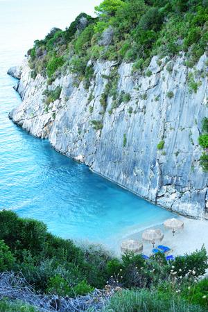 zakynthos: Empty Xigia Sulphurc Beach in Zakynthos, Greece Stock Photo
