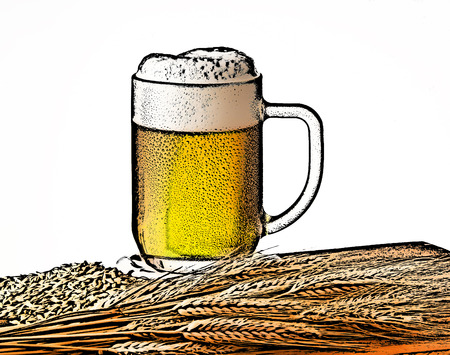 ilustration: ilustration of beer glass with sheaf of barley, generated in the photoshop