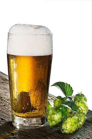 dewy: illustration of beer glass and hop cones on the white background