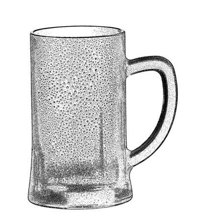 dewy: empty beer glass on the white background