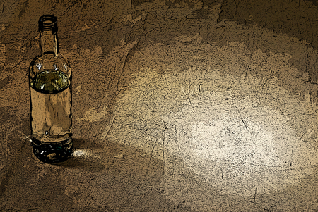 inebriated: illustration of bottle of alcohol in the brown