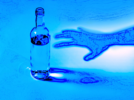 inebriated: illustration of hard drinker with bottle in the blue