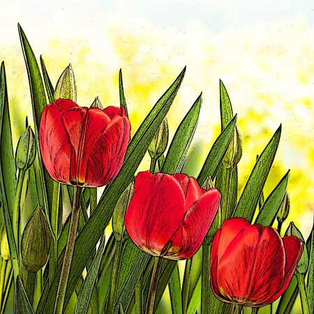 springtime: illustration of red tulips in the springtime Stock Photo