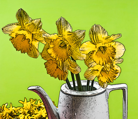 dewy: illustration of yellow narcissus in the vase Stock Photo