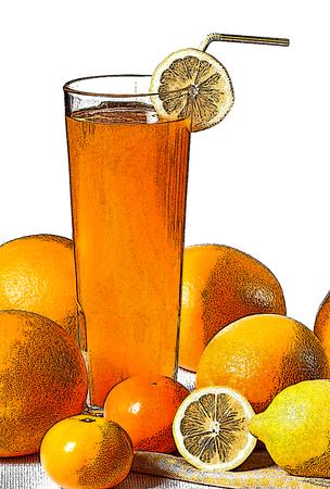 mandarins: illustration of juice and fruits on the white background