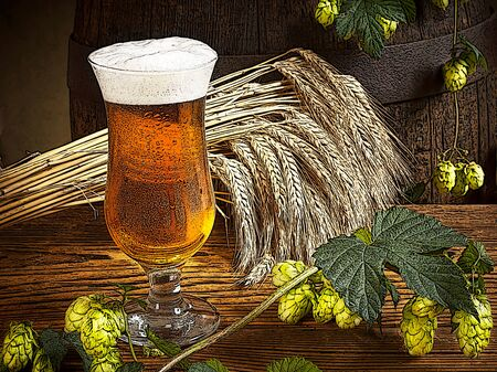dewy: illustration of glass of beer with hops and barley Stock Photo
