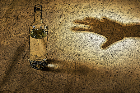 inebriated: illustration of hand of hard drinker with bottle in brown Stock Photo