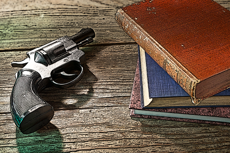 illustration of gun with books on the wooden desk Stock Photo