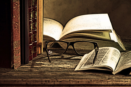 reading glasses: illustration of reading glasses with bokks on the table Stock Photo