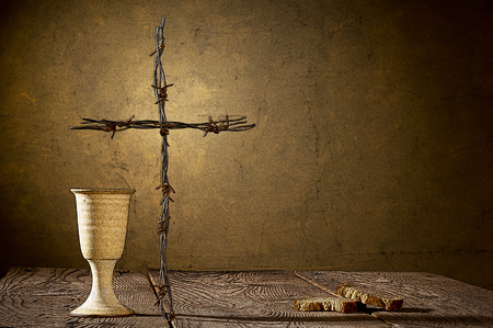 catholic cross: Illustration of chalice and bread on the wooden table