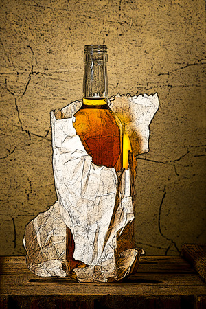 depressive: drawing of bottle of hard liquer in the paper bag Stock Photo