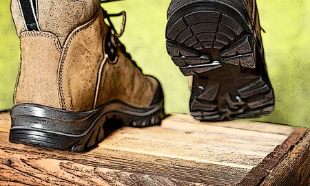 sole: illustration of walking boots with grip sole Stock Photo