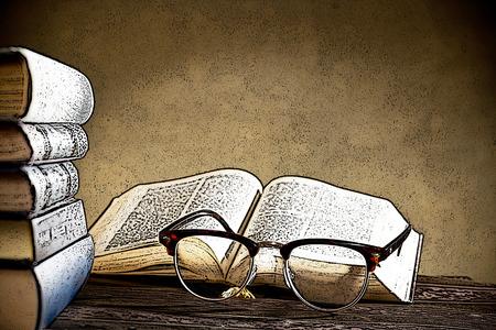 eyeglasses: Illustration of eyeglasses and books on the table