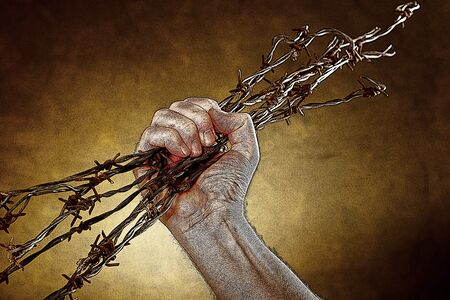 injustice: Illustration of man crushes a bundle of barbed wire