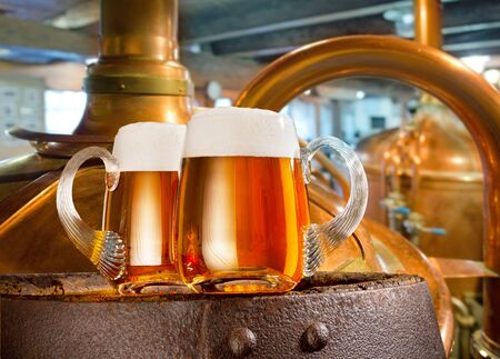 brewery: Two glasses of beer in the brewery