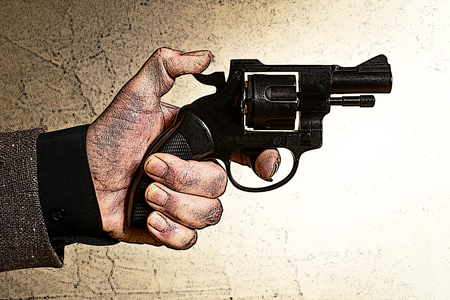 handgun: Illustration of a mans hand with a handgun in brown