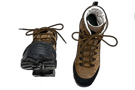 shoelaces: illustration of pair of boots isolated on the white background