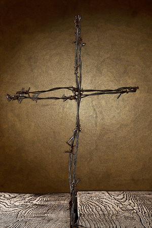 catholicism: a illustration of crucifix from barbed wire Stock Photo