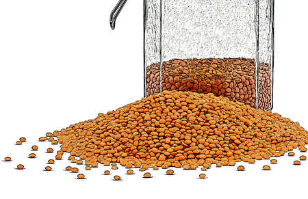 wholesome: illustration of lentils with preserve on the white background