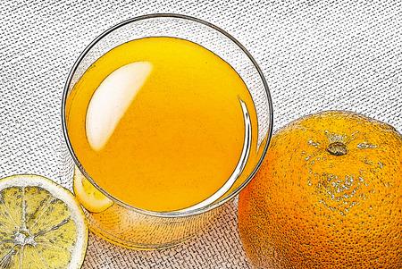 mandarins: illustration of juice with orange on the table Stock Photo