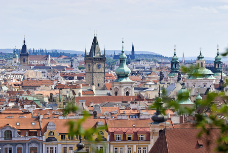 an overview: Prague, Overview from Letna, Czech Republic Stock Photo