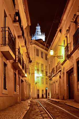 quarter: Alfama quarter at night in Lisbon, Portugal Stock Photo