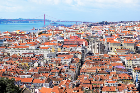 inlet bay: View of Lisbon with bridge in the background, Portugal