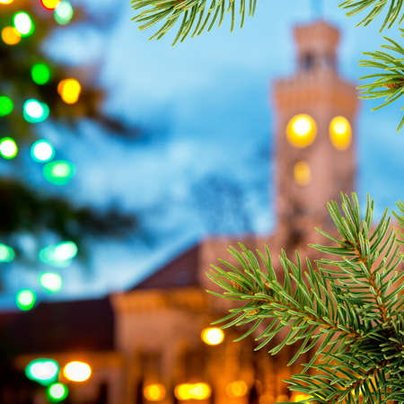 old town hall: Christmas background with old town hall and christmas twig Stock Photo