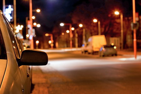 mov: rear-view mirror of the car on the night street