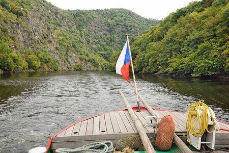 vltava: The bridge of the boat on the Vltava river