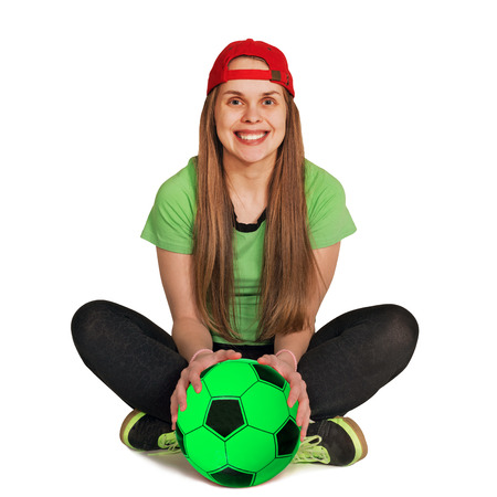 girl be sitting with ball on the white background Stock Photo