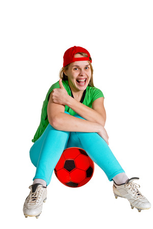 sportswoman with ball on the white background