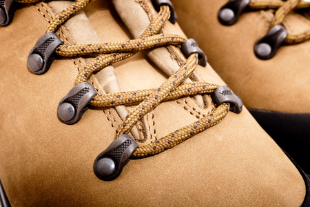 a detail of walking boots with bootlace Stock Photo