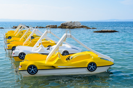 water chute: Sea peddle boats on the water surface