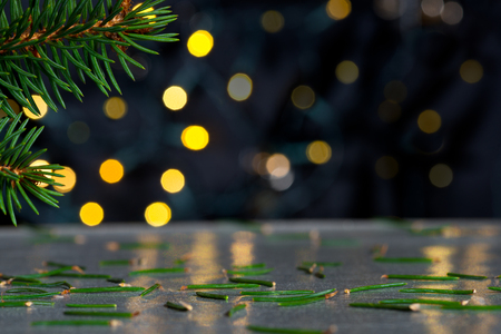 glitz: Christmas background with needles and color llights