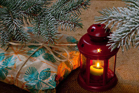 christmas tide: Modest gift under the Christmas tree Stock Photo