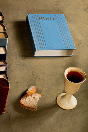 chalice: chalice of wine with bread and bible