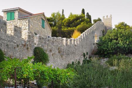 Detail of Hvar town walls, Croatia Stock Photo
