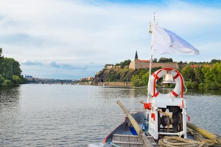 The bridge of the boat on the Vltava river in Prague, Czech Republic