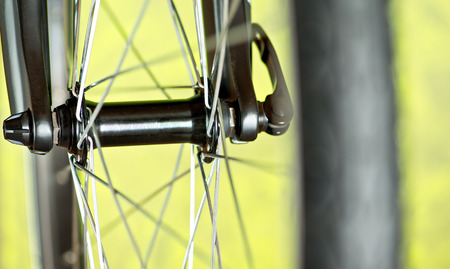 spokes: Detail Of Rubber Tire Of New Bicycle