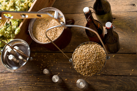 Man Weighs Malt for Home Brewing of Beer.  Top View. Stockfoto