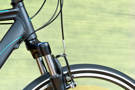 Detail Of Caliper Brakes And Suspension Fork of New Bike.