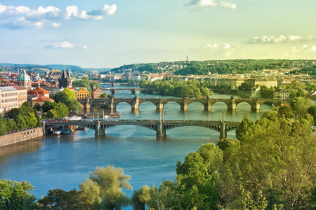 Prague Bridges and Vltava River in the Summer. Czech Republic.