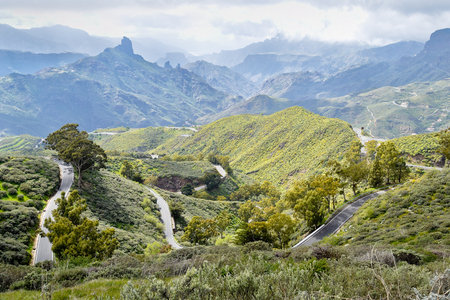 Landscape with Mountain Road in Gran Canaria. Spain. Banque d'images