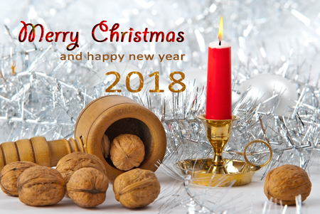 Christmas Still Life with Writing Merry Christmas and Happy New Year