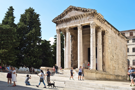 PULA, CROATIA - SEPTEMBER 1, 2017: The Temple of Augustus; The Temple of Augustus is a well-preserved Roman temple in Pula; the largest city in Istria.